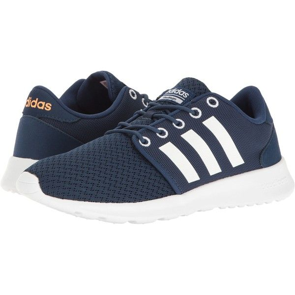 top fashion 680bc 05ff6 adidas Cloudfoam QT Racer (Mystery Blue White Glow Orange) Women s Running  Shoes featuring polyvore, women s fashion, shoes, athletic shoes, navy, ...