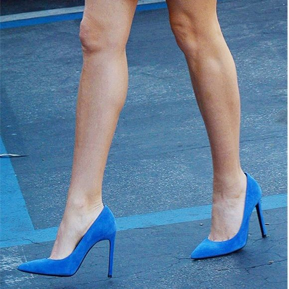 54e4a838aca New YSL Saint Laurent Paris Blue Suede Pumps 100% Authentic guaranteed  Comes in box with