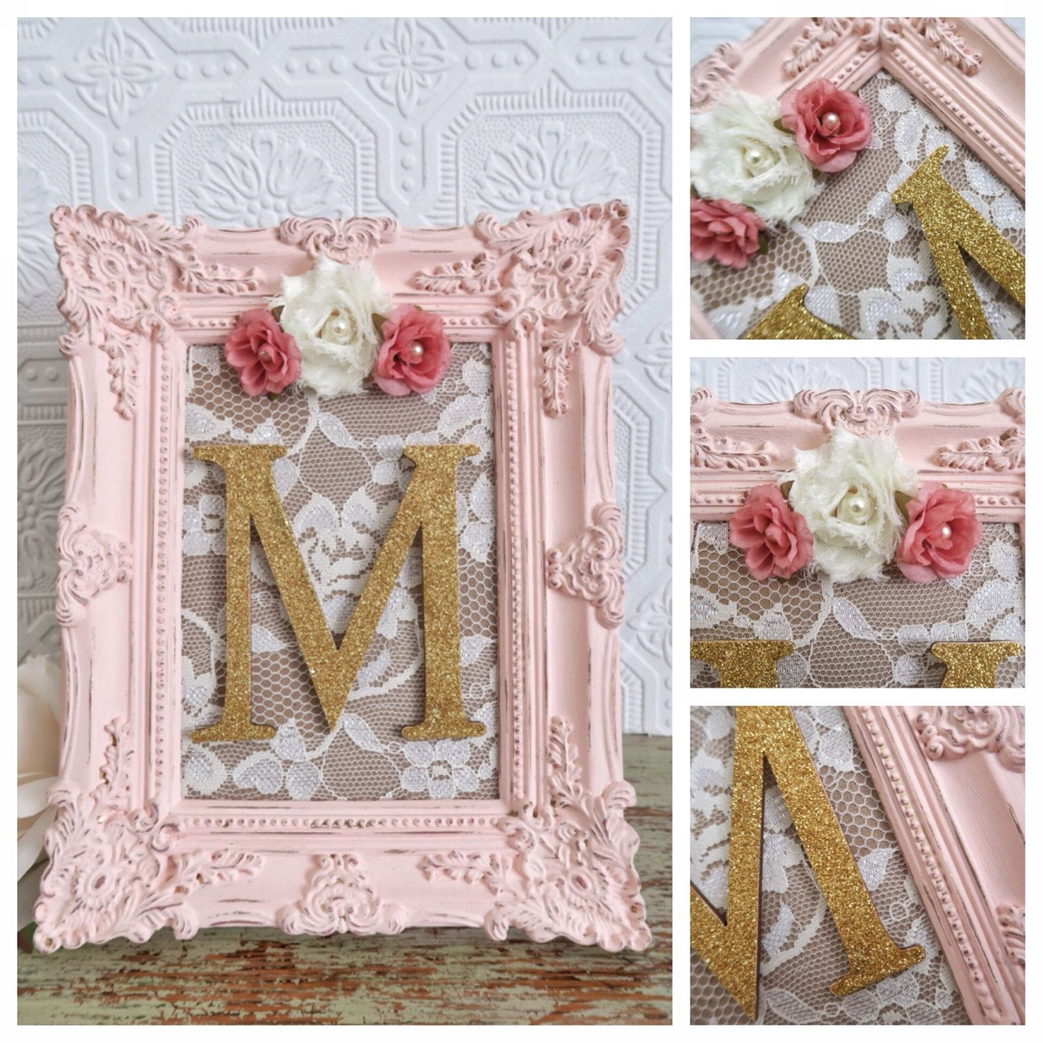nursery letter m baby girl nursery letters pink and gold wall letters shabby chic nursery decor. Black Bedroom Furniture Sets. Home Design Ideas
