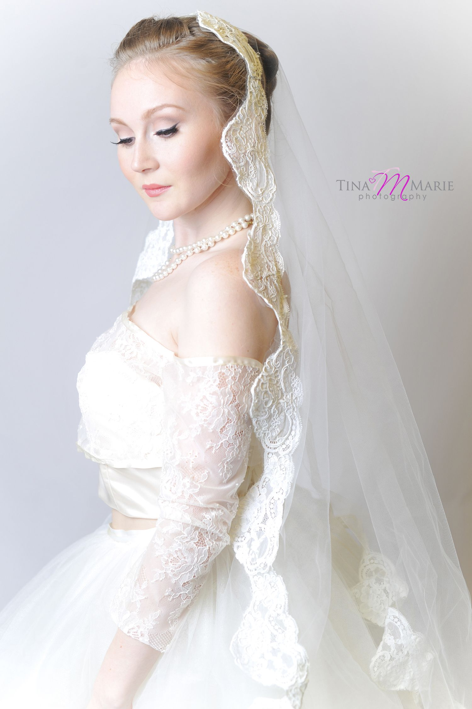 Long veil wedding dresses  Custom made Mantilla lace off shoulder jacket tulle skirt and