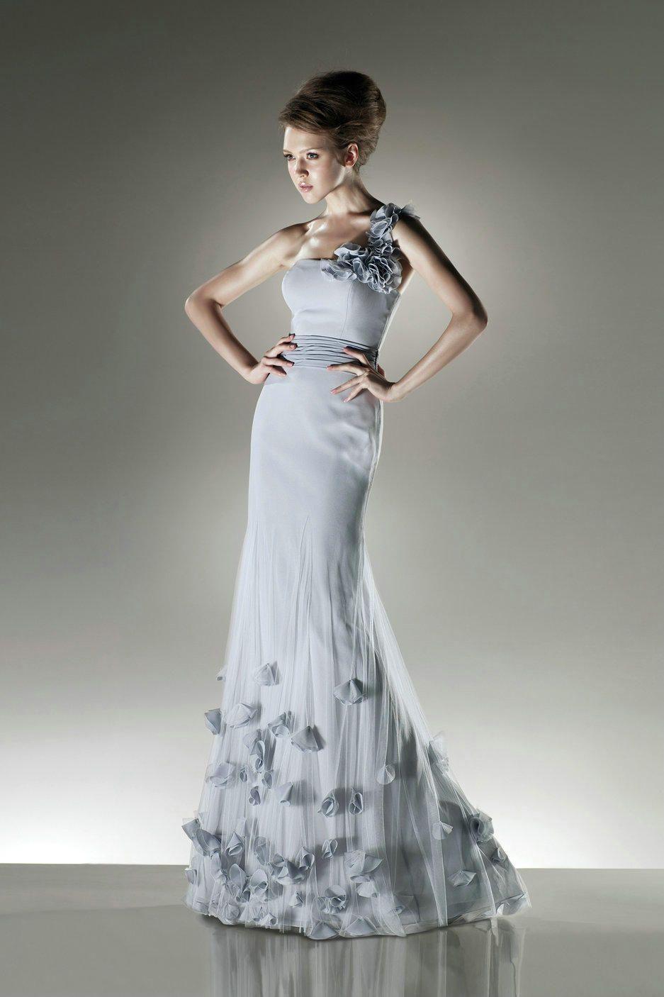 One Shoulder Gorgeous Light Blue Evening Formal Dress With Floral ...