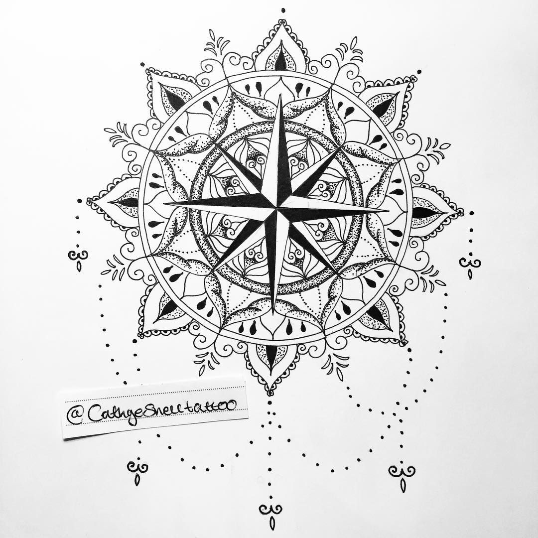 Compass tattoo mandala design that's available if anyone fancies it! :) email me Cathye.snell@yahoo.co.uk for this or a custom design …