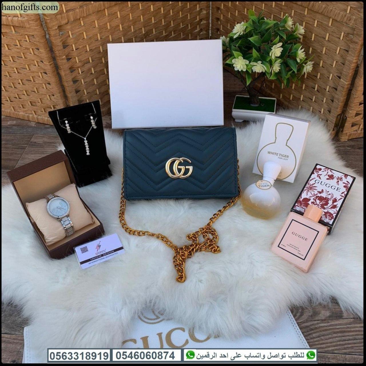 شنط قوتشي نسائي Gucci مع ساعه تصميم فرزاتشي وطقم اكسسوار زركون و2 عطر هدايا هنوف Shoulder Bag Gucci Dionysus Bags