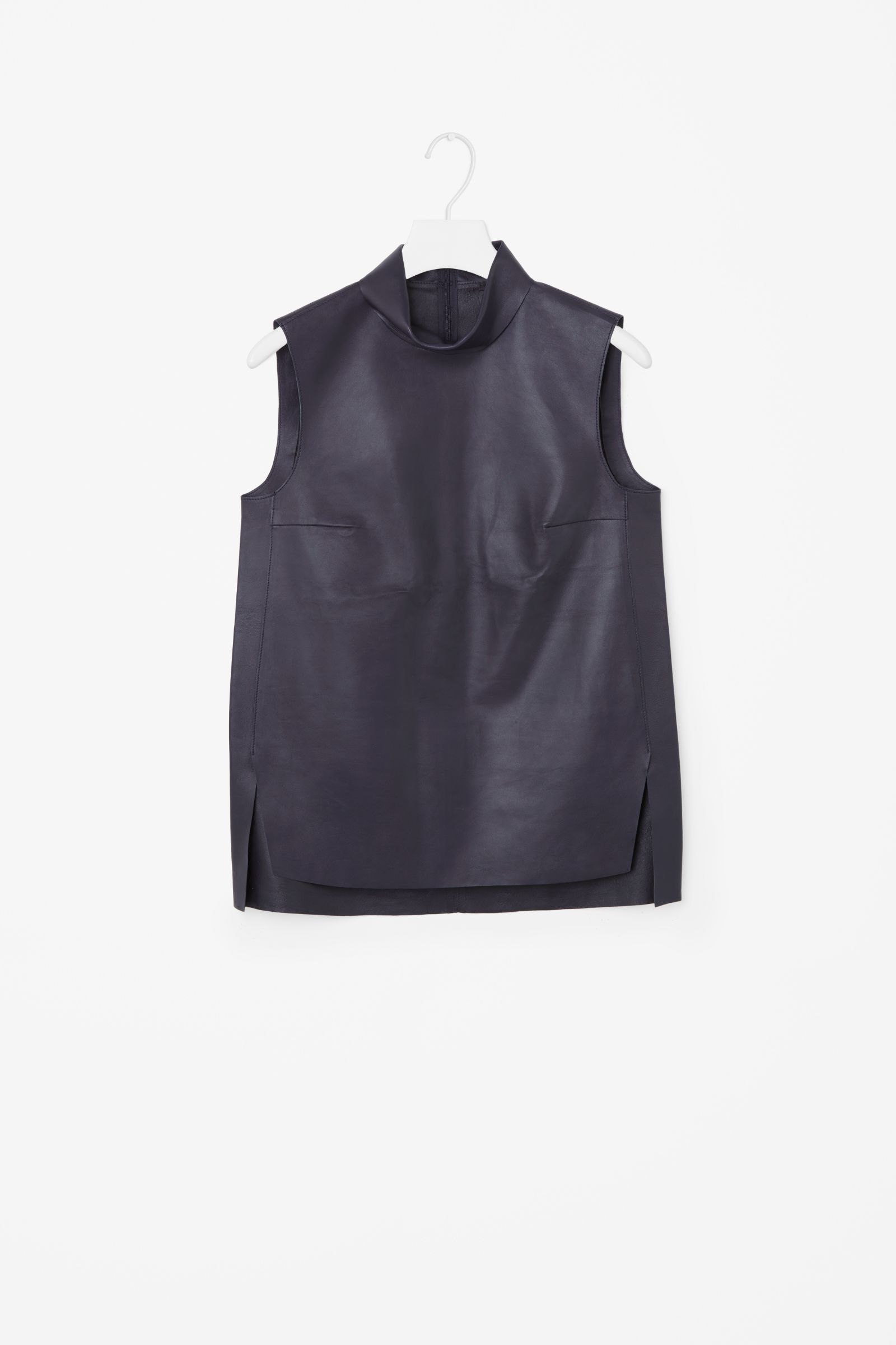 3ae1d5a9de7d55 COS image 4 of Sleeveless leather top in Navy