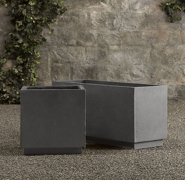 RHu0027s Weathered Cast Stone Cube U0026 Trough Planter:The Look Of Timeworn Stone  Belies The