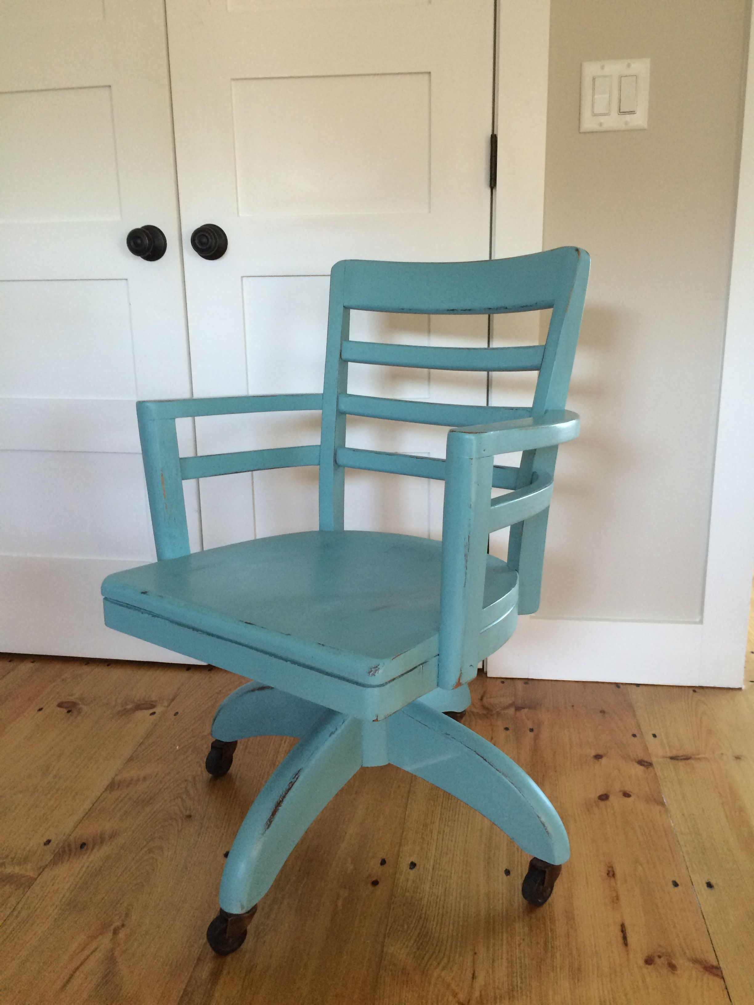 Vintage swivel desk chair painted Provence, lightly distressed and clear wax.
