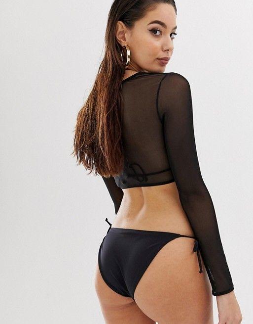 d2a3d0ef0c1f9 DESIGN mesh long sleeve bikini top in black in 2019 | Clothesss ...