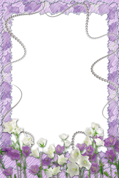 Soft Purple Transparent Frame with Flowers. Flower