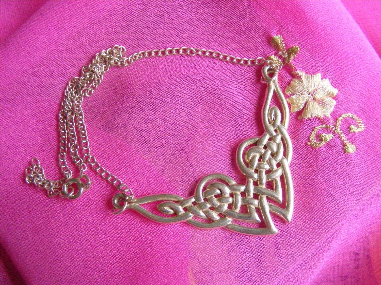 Vintage Silver Celtic Necklace - Scottish Irish Welsh design - 925 Silver - British Design - Elf Fairy - Very good vintage condition by Teddyrose54 on Etsy