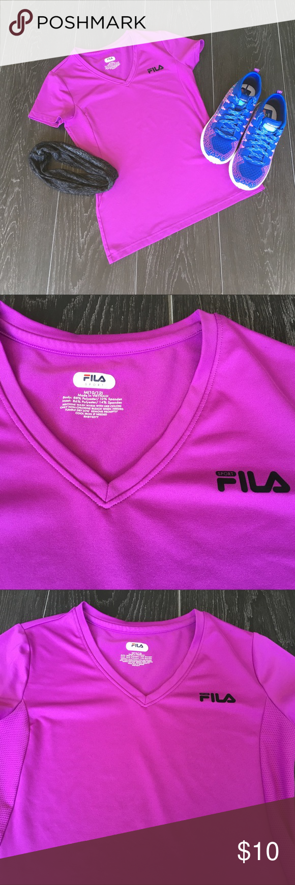 fe0533a88 💖SALE💖Girls Sport Shirt Girls purple dri-fit Fila shirt size 10/12. In  EXCELLENT condition! No snags or flaws! From a pet and smoke free home!