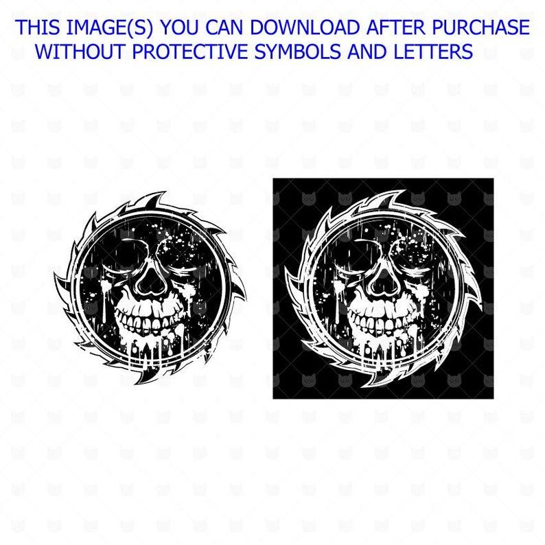 Grunge Skull t shirt design sublimation Png, Distressed