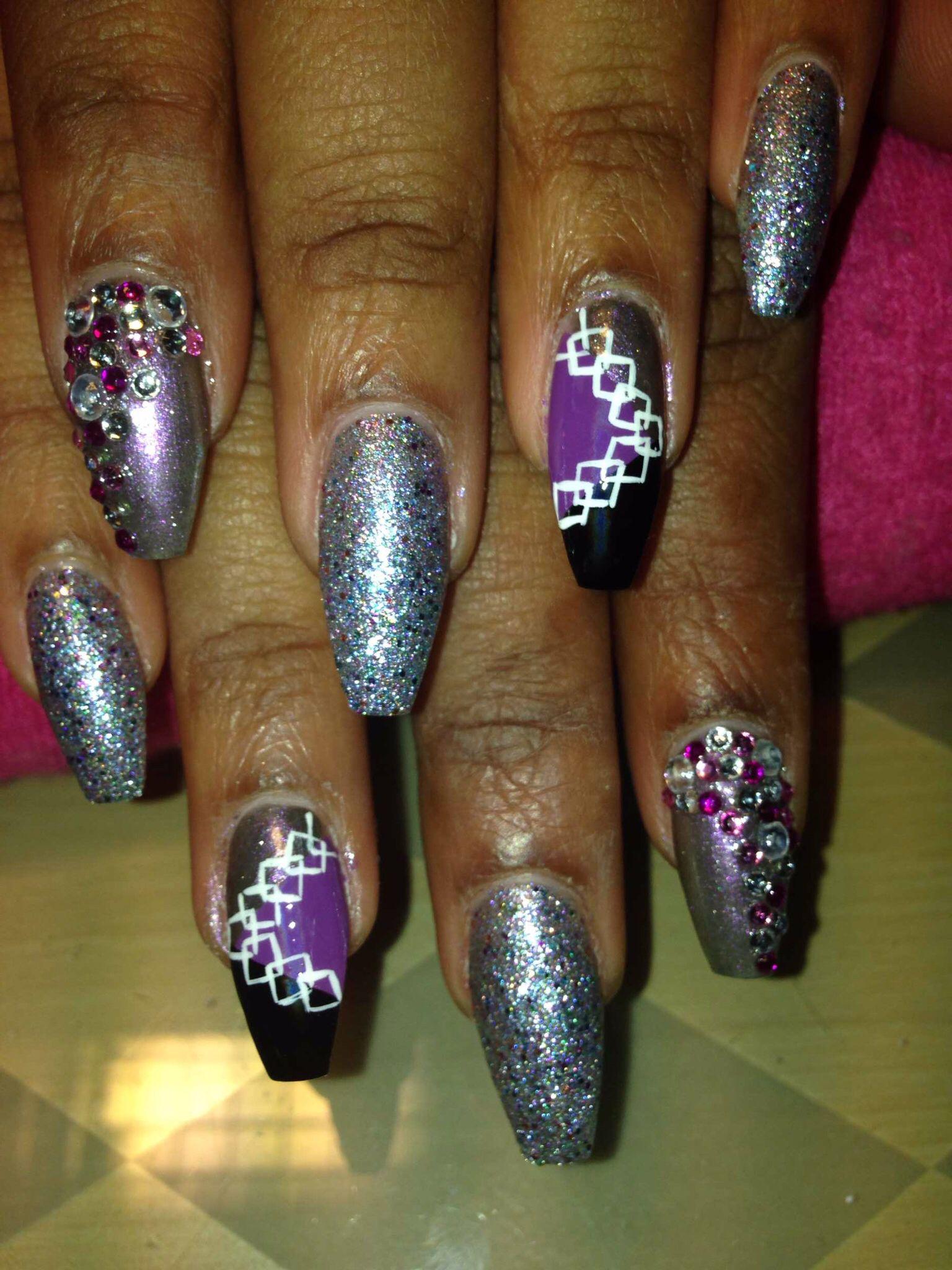 Squared stiletto nail shaped with iridescent silver glitter, purple ...