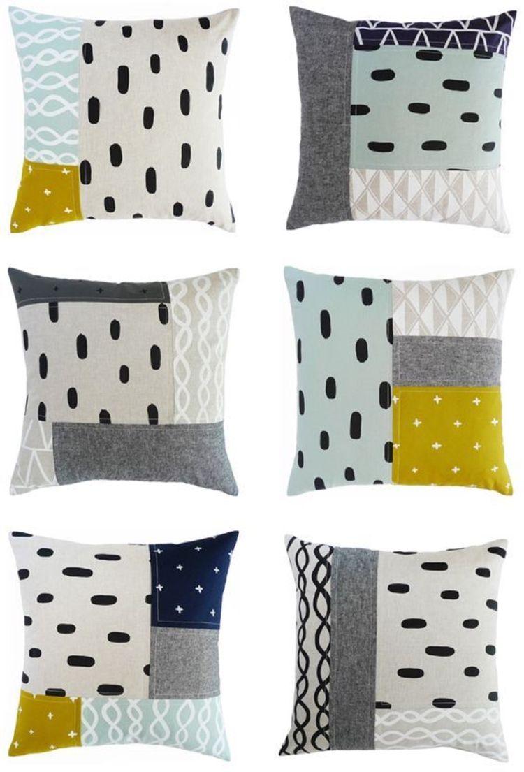 bunte geometrische Muster Patchwork Kissen selber nähen   Quilts ...