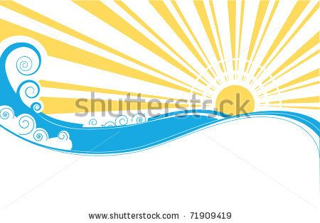 Abstract sea waves. Vector illustration of sea landscape by Tancha, via ShutterStock