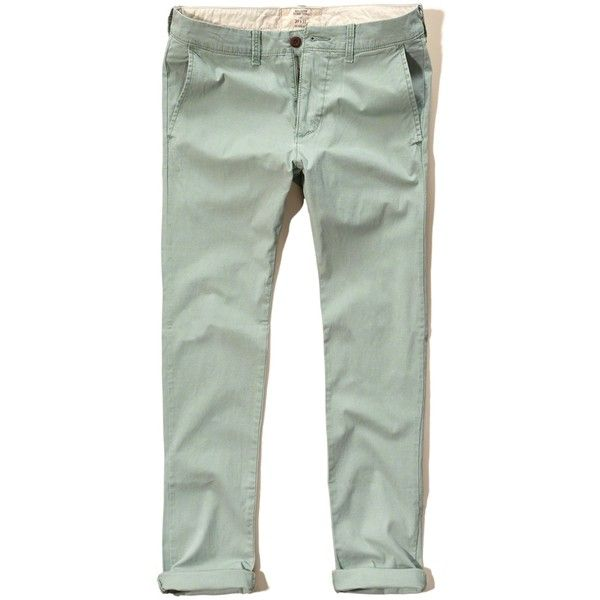 Hollister Skinny Zipper Fly Chinos ($20) ❤ liked on Polyvore featuring men's  fashion, men's clothing, men's pants, men's casual pants, olive, mens skinny  ...