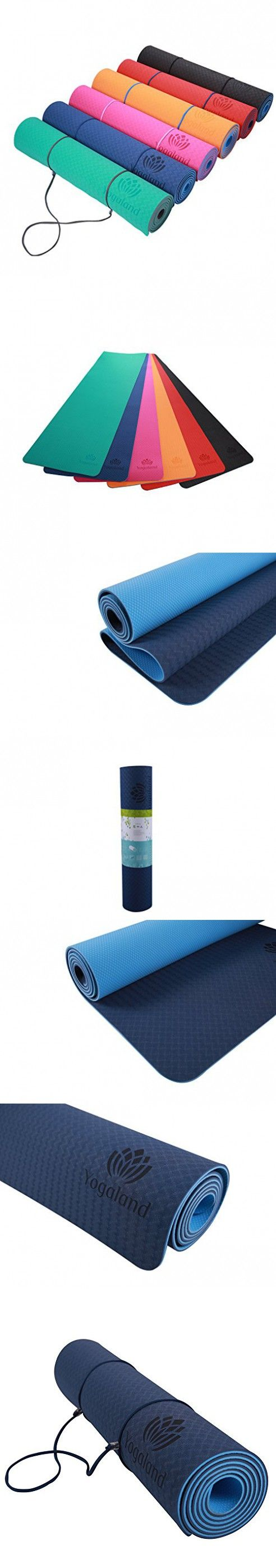 Yogaland Premium Yoga Mat Eco Friendly Tpe Material Textured Non Slip The Best Grid Durable Recycable 1 4 Or 6mm Multiple Colors Blue Material Textures Blue Color Yoga Mat