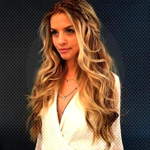 gorgeous prom hairstyle for long hair with waves + braids