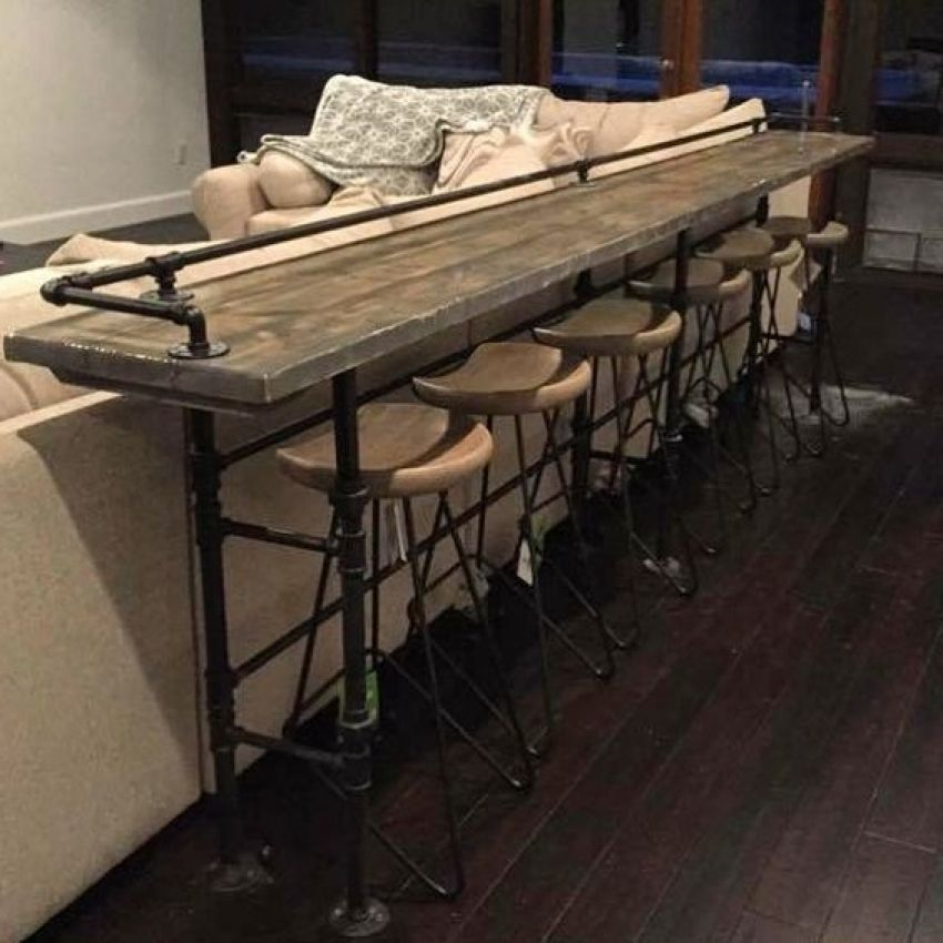 1000 Ideas About Bar Behind Couch On Pinterest Behind Couch Bar Height Sofa Table Bar Table Behind Couch Bar Behind Couch Modern Farmhouse Living Room Decor