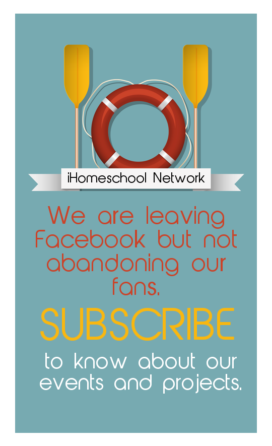 iHomeschool Network is leaving Facebook.  We are going to stop posting regularly to our Facebook page but will be spending more time on other platforms like Pinterest, YouTube, and Google Plus. SUBSCRIBE to our newsletter to stay in touch.