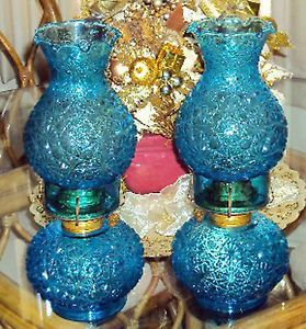 L E Smith Glass Daisy and Button Turquoise 12 in. Hurricane Oil Lamp