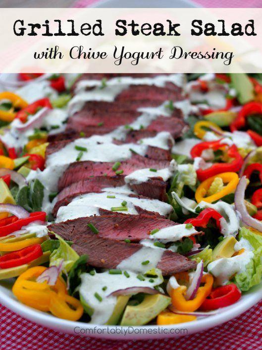 Grilled-Steak-Salad-with-Chive-Yogurt-Dressing | ComfortablyDomestic.com