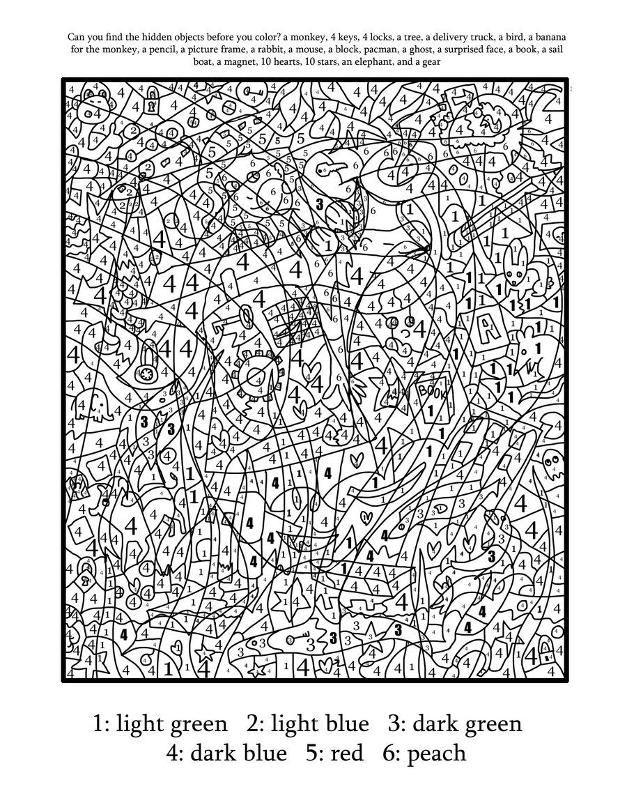 Color by number coloring page find the hidden objects