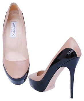 Jimmy Choo Womens Leather Patent Leather Heels Size 10/40 Black And Tan Pumps $348