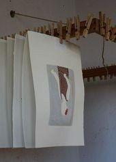 Diy Art Studio Storage Drying Racks IdeasNew Diy Art Studio Storage Drying Racks Ideas Great idea Print drying rack I must make one 45 more happy little linocut prints dr...