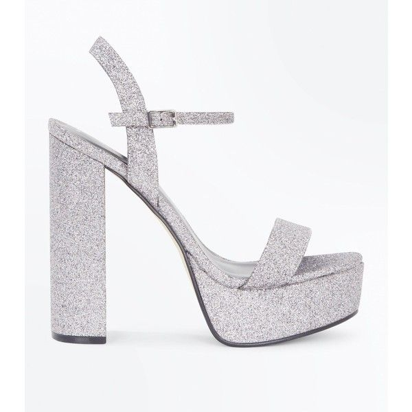 On Silver Glitter Platform Sandals24❤ Liked Heel Block AL54q3jR
