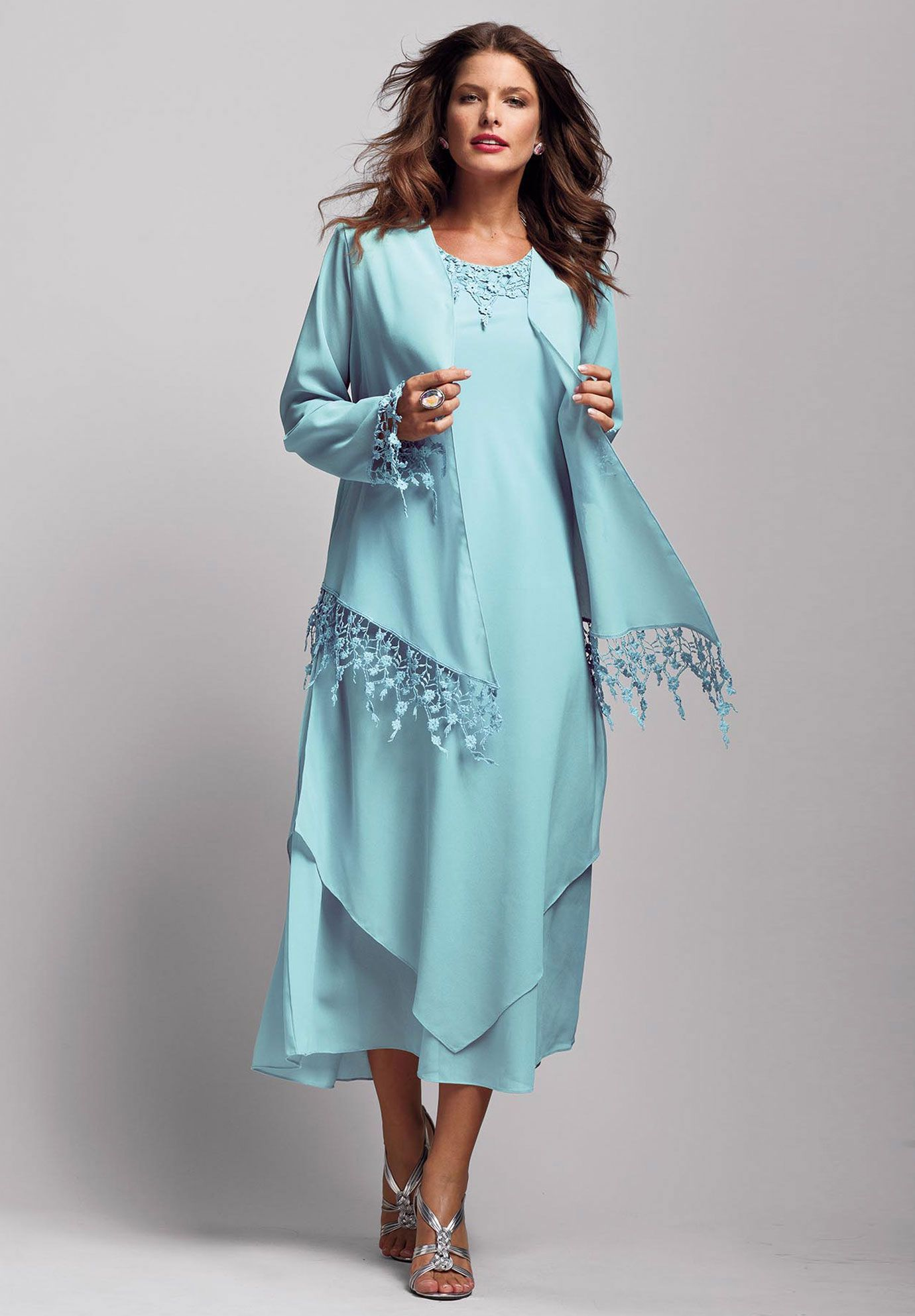 Plus Size Dripping Lace A-Line Jacket Dress | Plus Size Mother of ...