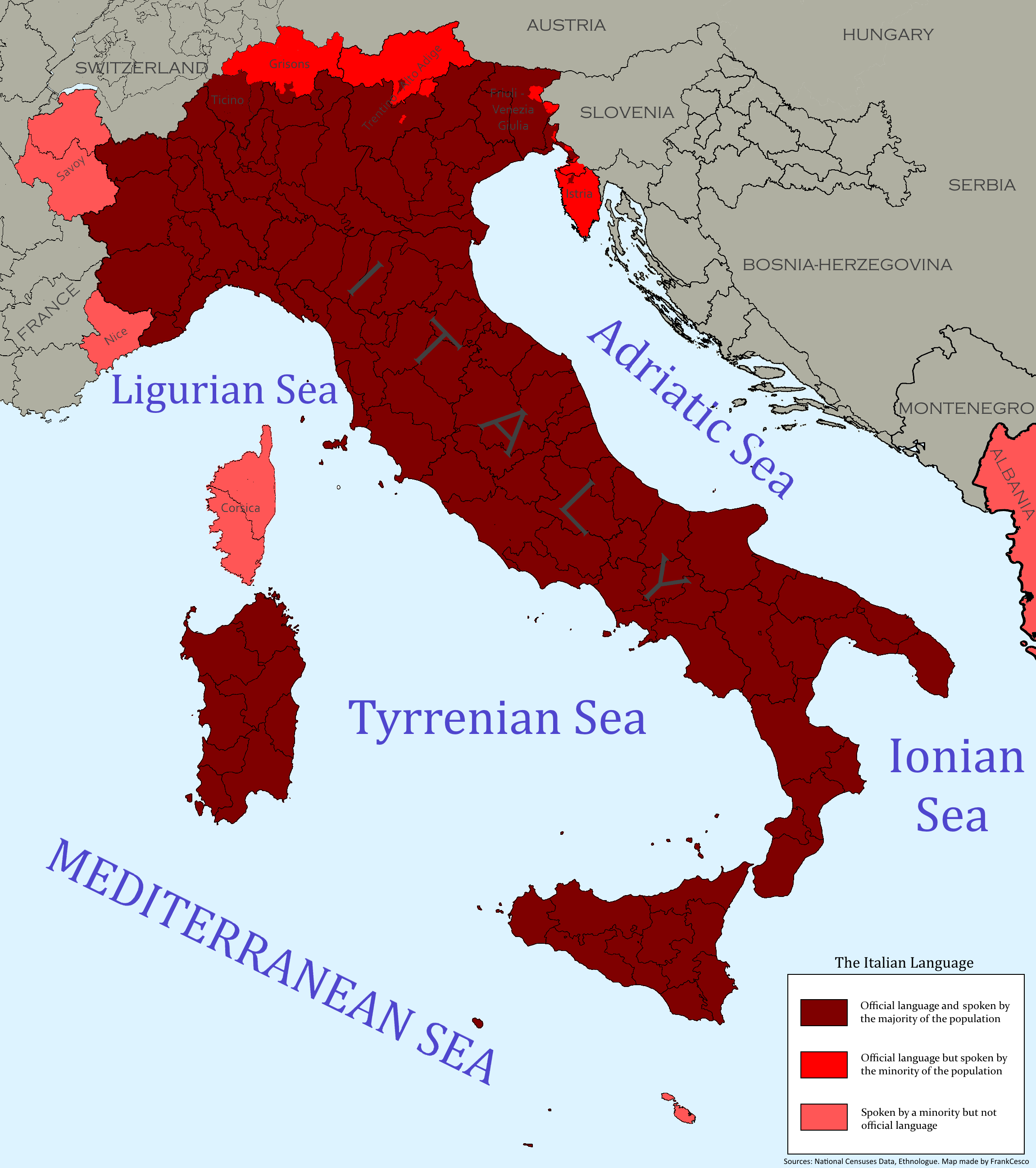 Map Very Detailed Map Of The Italian Language New