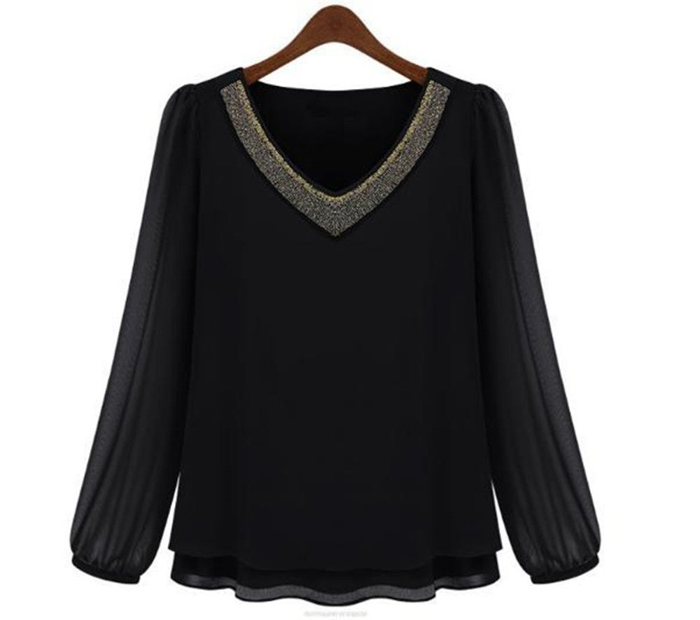 nice For sale 2015 Style V-Neck Ladies Blouses Lengthy Sleeve Along with Rivet Chiffon Shirt Ladies MK8335
