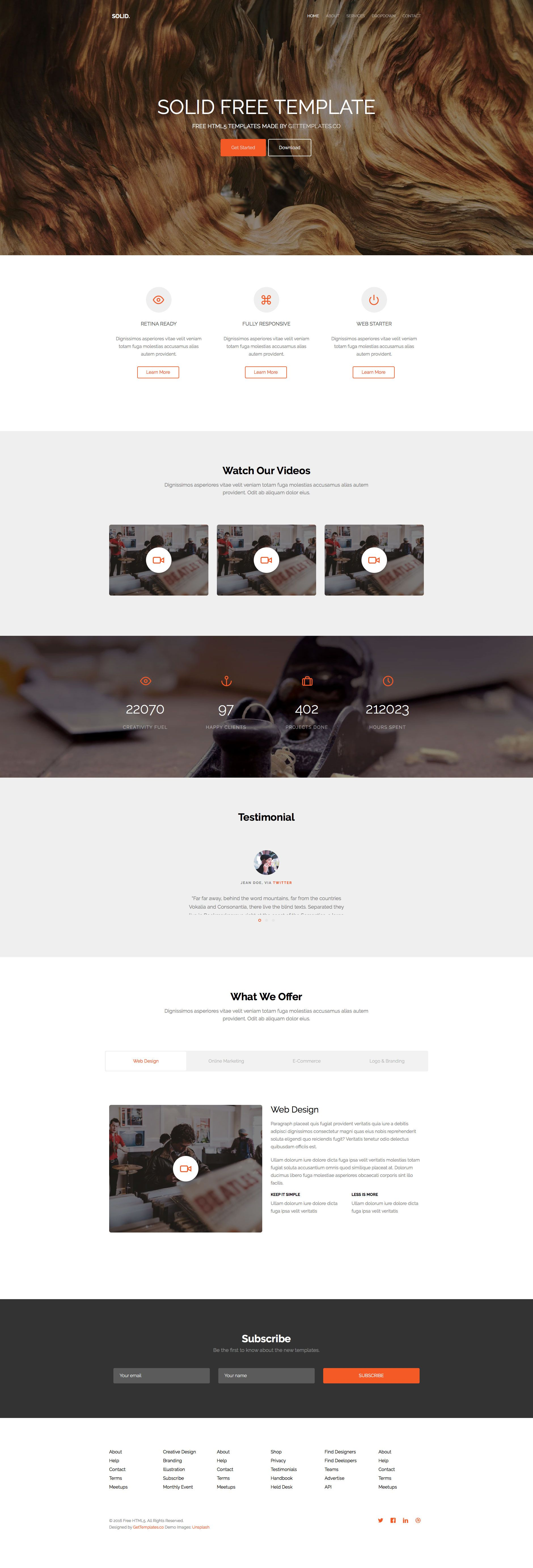 Solid Is A Free Responsive Multi Purpose Html5 Website Template
