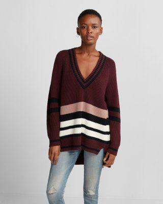c146bbd63a stripe oversized deep v-neck tunic sweater