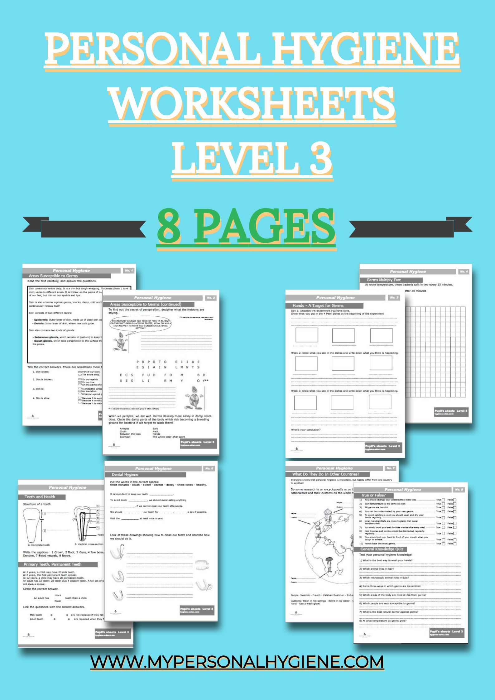 Level 3 Of Personal Hygiene Worksheets For Kids Included