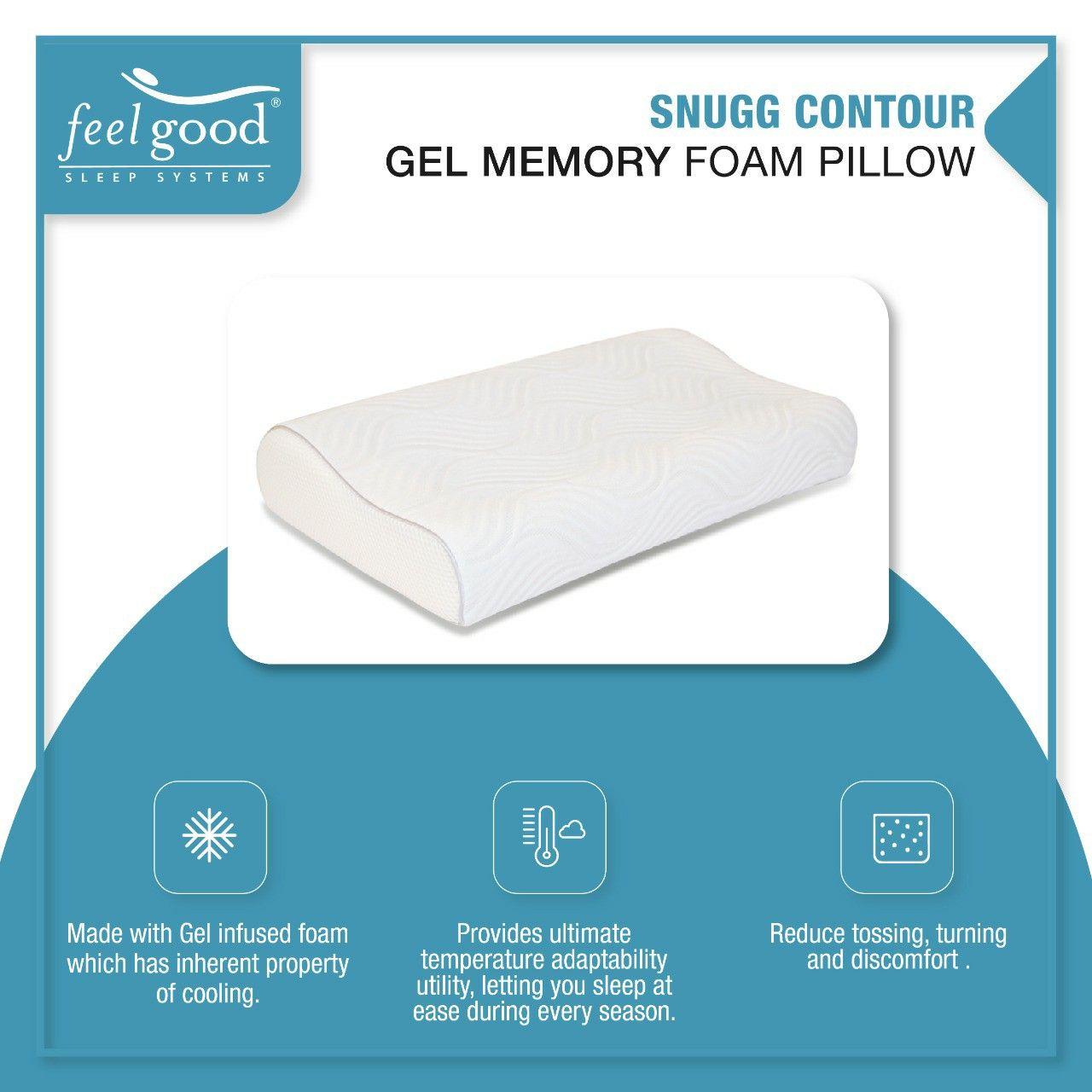 Snugg Contour Gel Infused Memory Foam Pillow In 2020 Memory Foam Pillow Foam Pillows Gel Memory Foam