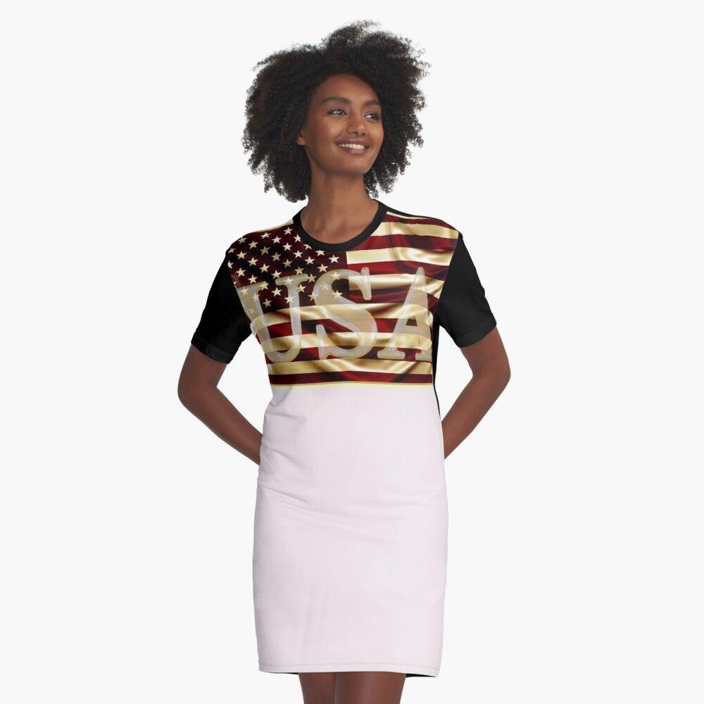 Gold usa america flag graphic tshirt dress by