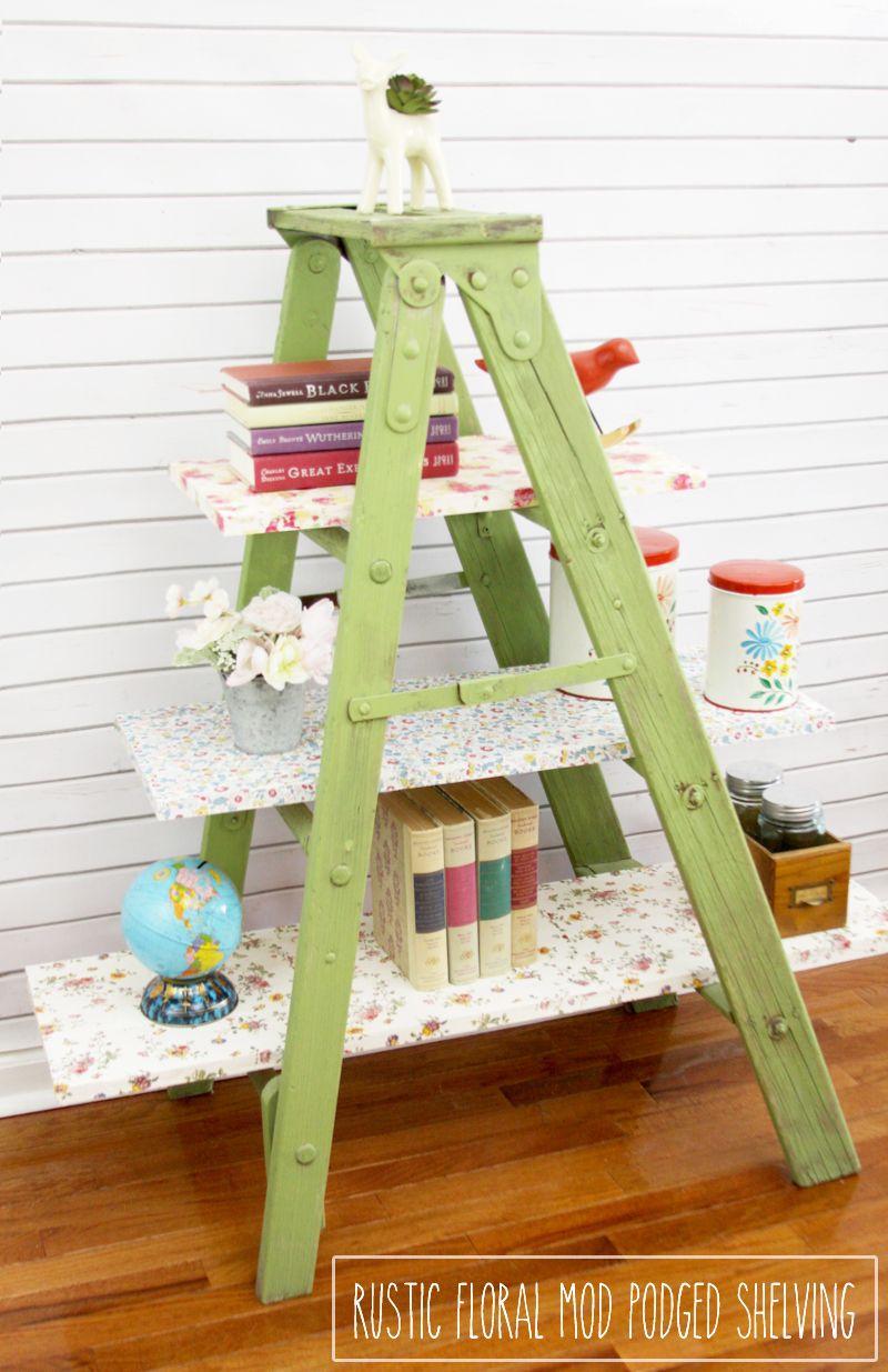 Vintage floral mod podged ladder shelving vintage floral