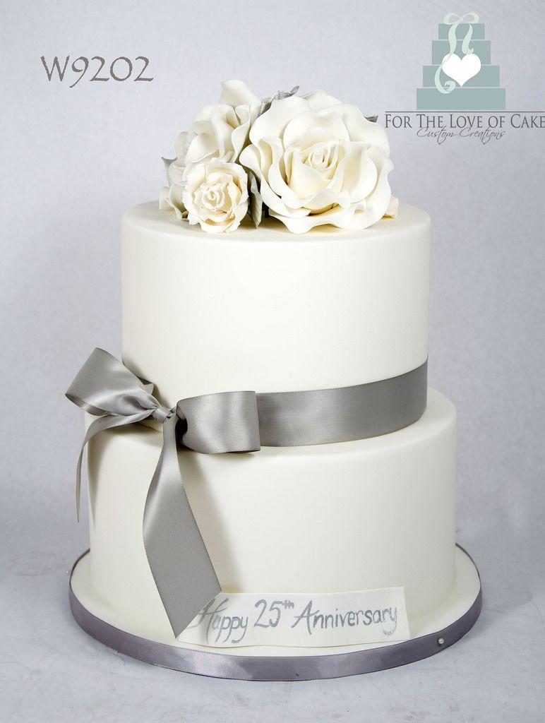 W9202-white-silver-25th-anniversary-cake-toronto | 25th anniversary ...