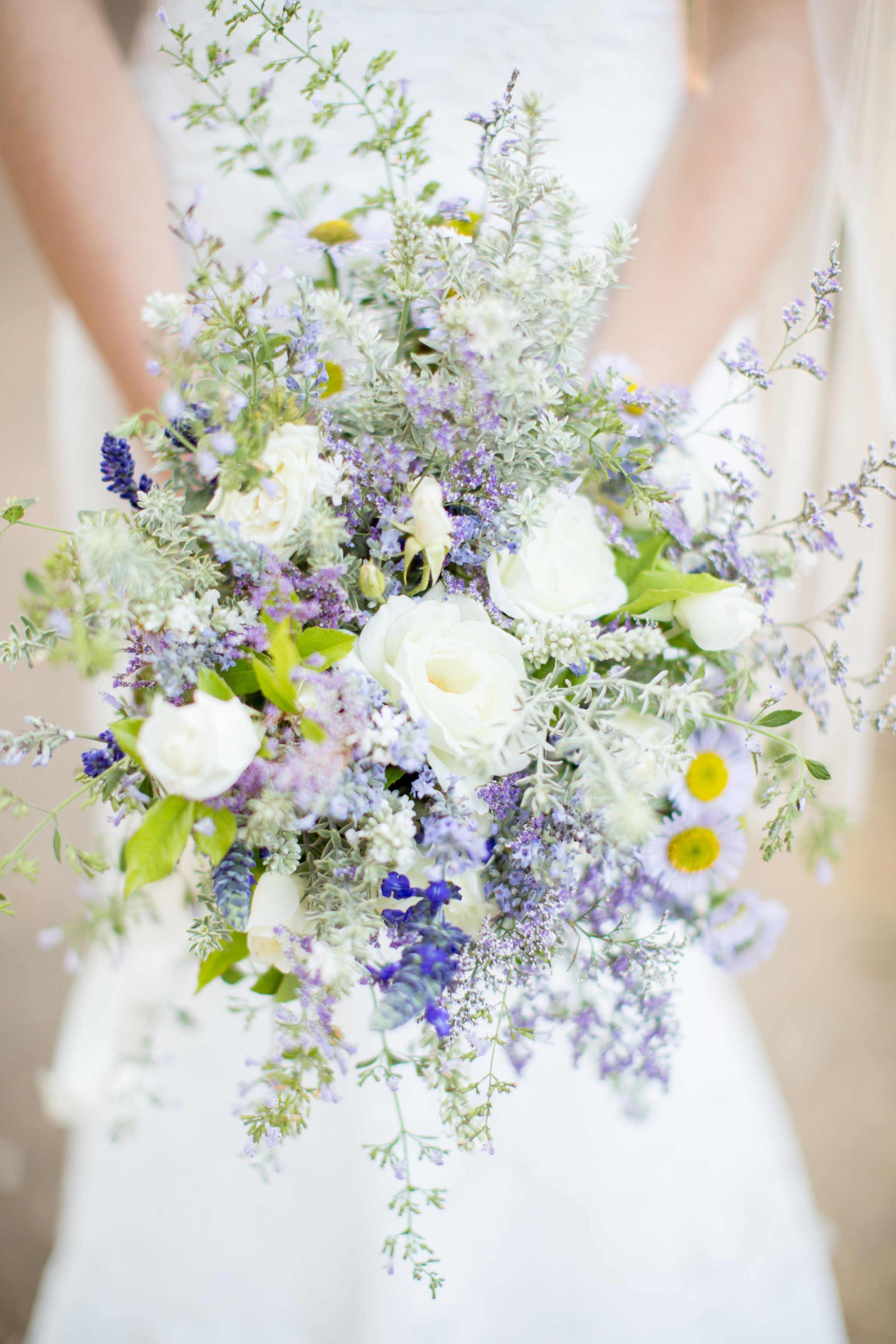 Iceberg White Roses Lavender And California Natives Combined For A Casual Wedding Bouquet Anna J Photography