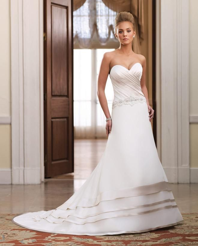 Hot Sale Sweetheart Ruffles A-line Appliques Bridal Gowns Wedding Dress - Empire Wedding Dresses - Wedding Dresses - Homecoming Dresses Outlet Inexpensive Holiday Dresses Evening Dresses Store.