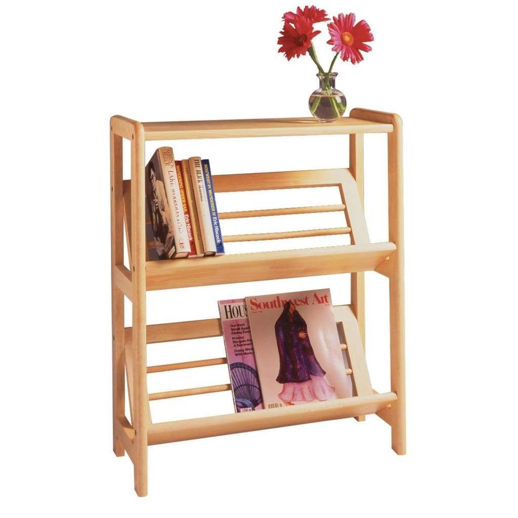 Excellent 2 Tier Bookshelf With Slanted Shelf By Winsome Woods In