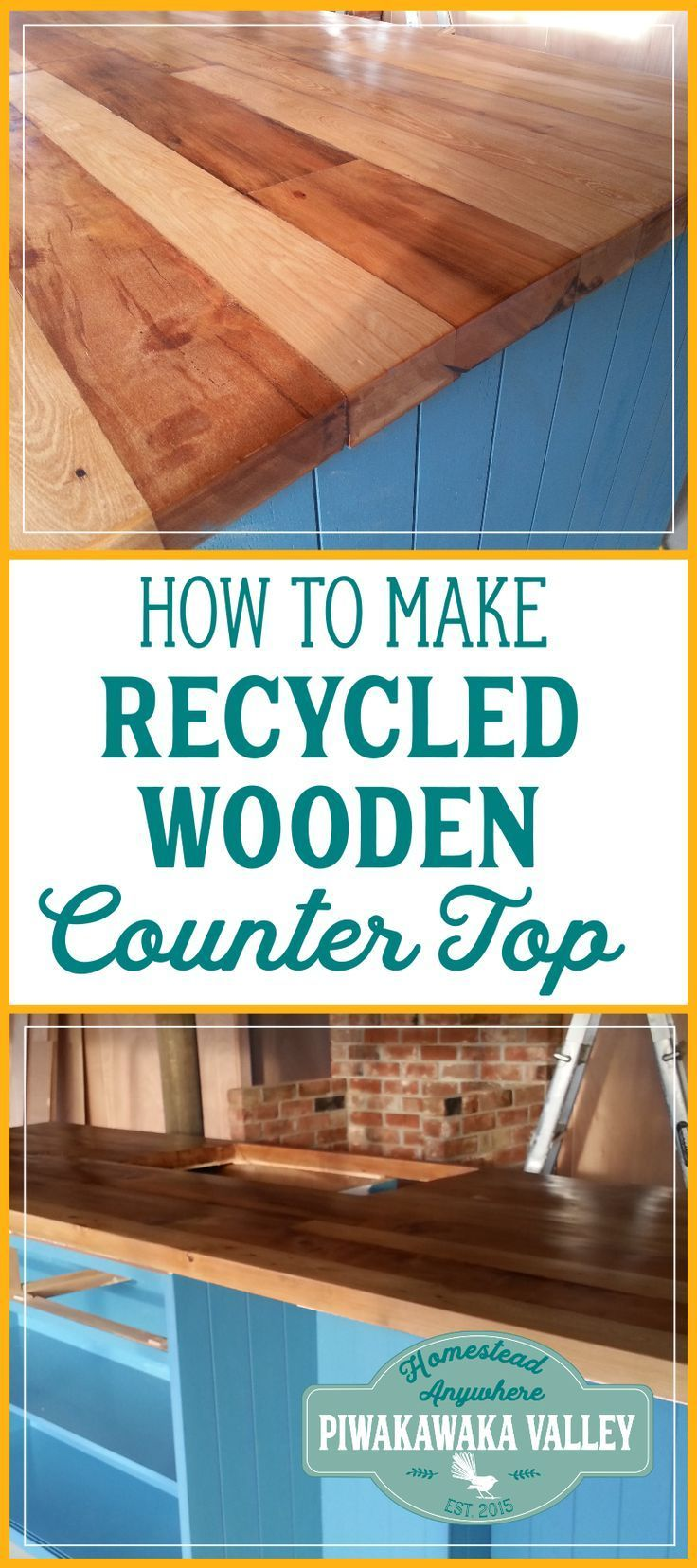 DIY Recycled Wooden Countertop | Pinterest | Kitchen benches ...