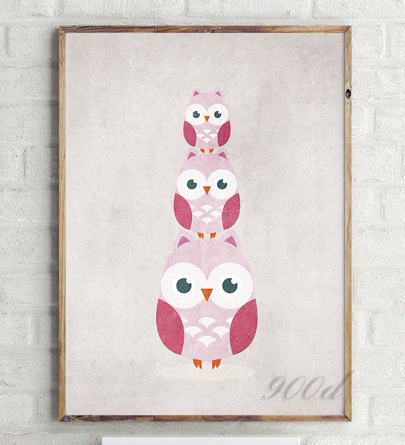 Vintage Carton Owls Canvas Art Print Painting Poster, Wall Pictures