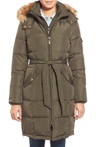 78bef68d662 Ellen Tracy Belted Down Coat with Detachable Faux Fur Trim Hood ...