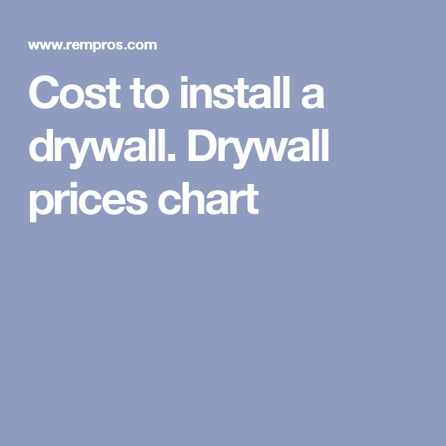 Cost To Install A Drywall Prices Chart
