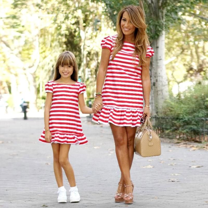 Mother And Daughter Matching Dresses Women Girls Short Mini Dress Family Clothes