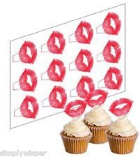 12 Lipstick Kiss Cupcake Picks Ricepaper Cake Decorations Lips Valentines Love