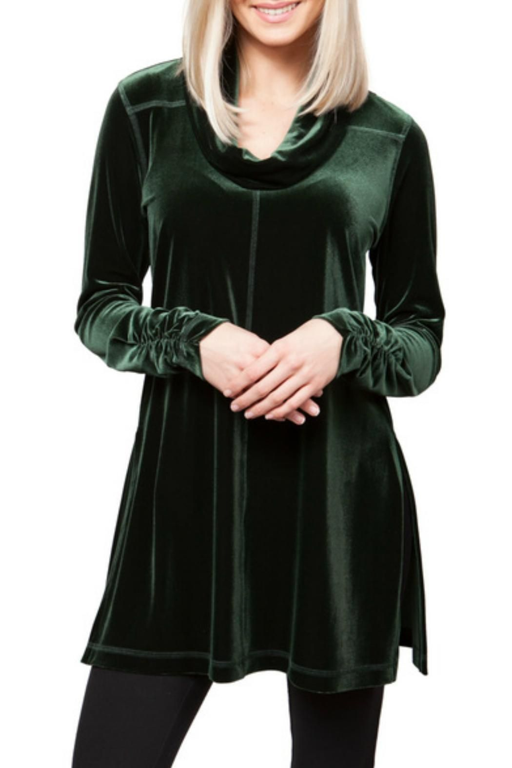 Deep emerald plush velvet tunic. Soft cowl neckline. Emerald Velvet Tunic  by Sno Skins. Clothing - Tops - Long Sleeve Clothing - Tops - Tunics Texas