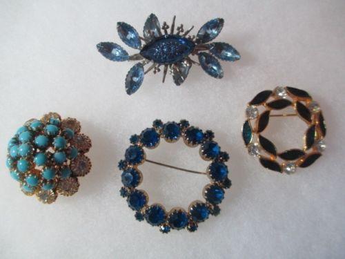Rhinestone Vintage Pin Lot of 4 Collection Blues Austria Beacon | eBay